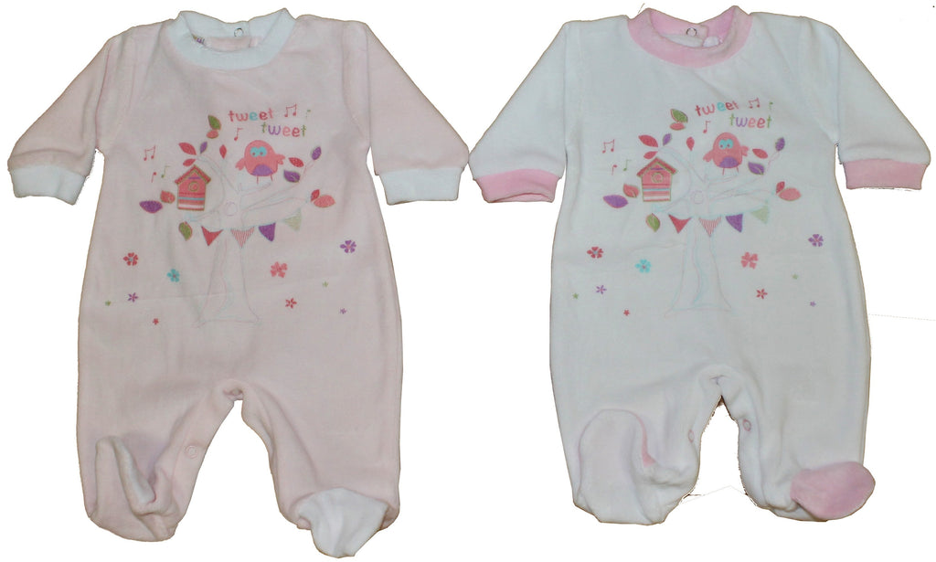 Velour Baby Grow - Tweet Tweet - NB-6M (40JTC182)
