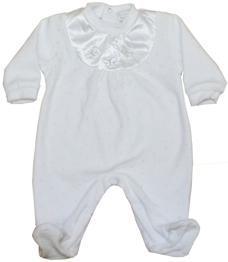 Baby Girl Velour All in One - Satin Bib Butterfly - NB-3M (40JTC610)