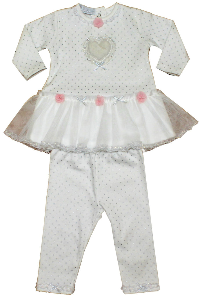 Baby Girls 2Pc Trouser Set - Spots & Lace - 3-12M (40JTC611)