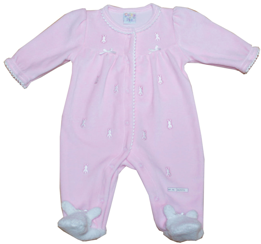 Baby Girl Velour All in One - Embroidered Bunny - NB-6M (40JTC634)