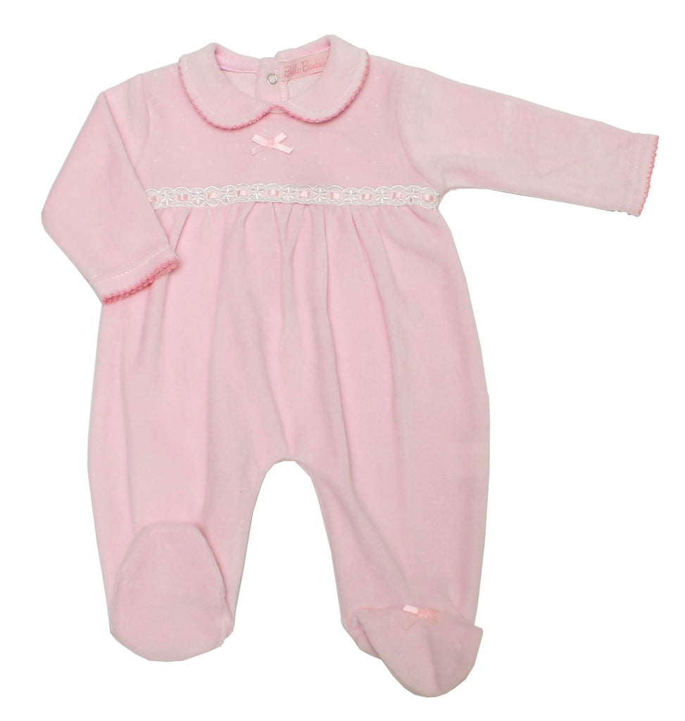Baby Girls Velour All in One - Pink - 0-9M (40JTC8109)