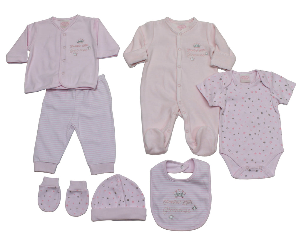 Baby Girls 7pc Layette Set - Little Princess - 0-9M (40JTC8136)