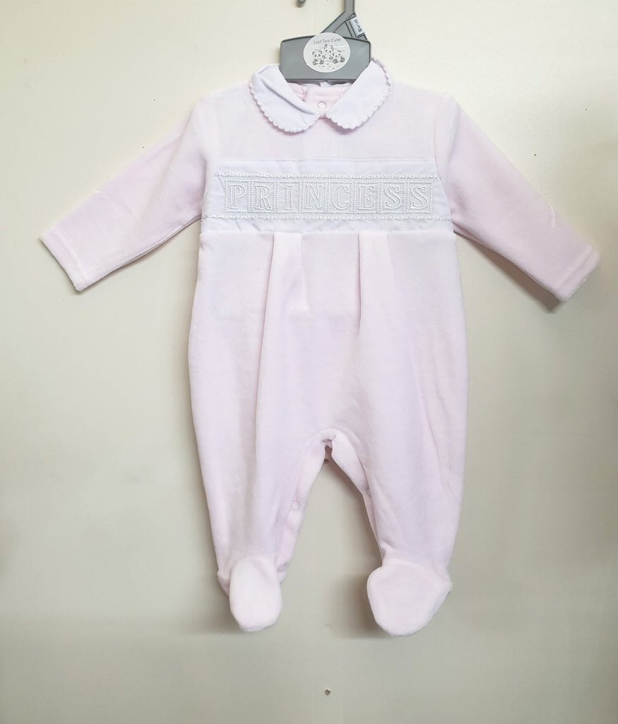 Baby Girls Velour collar All in One - Prince / Princess (0-3M) 40JTC8571