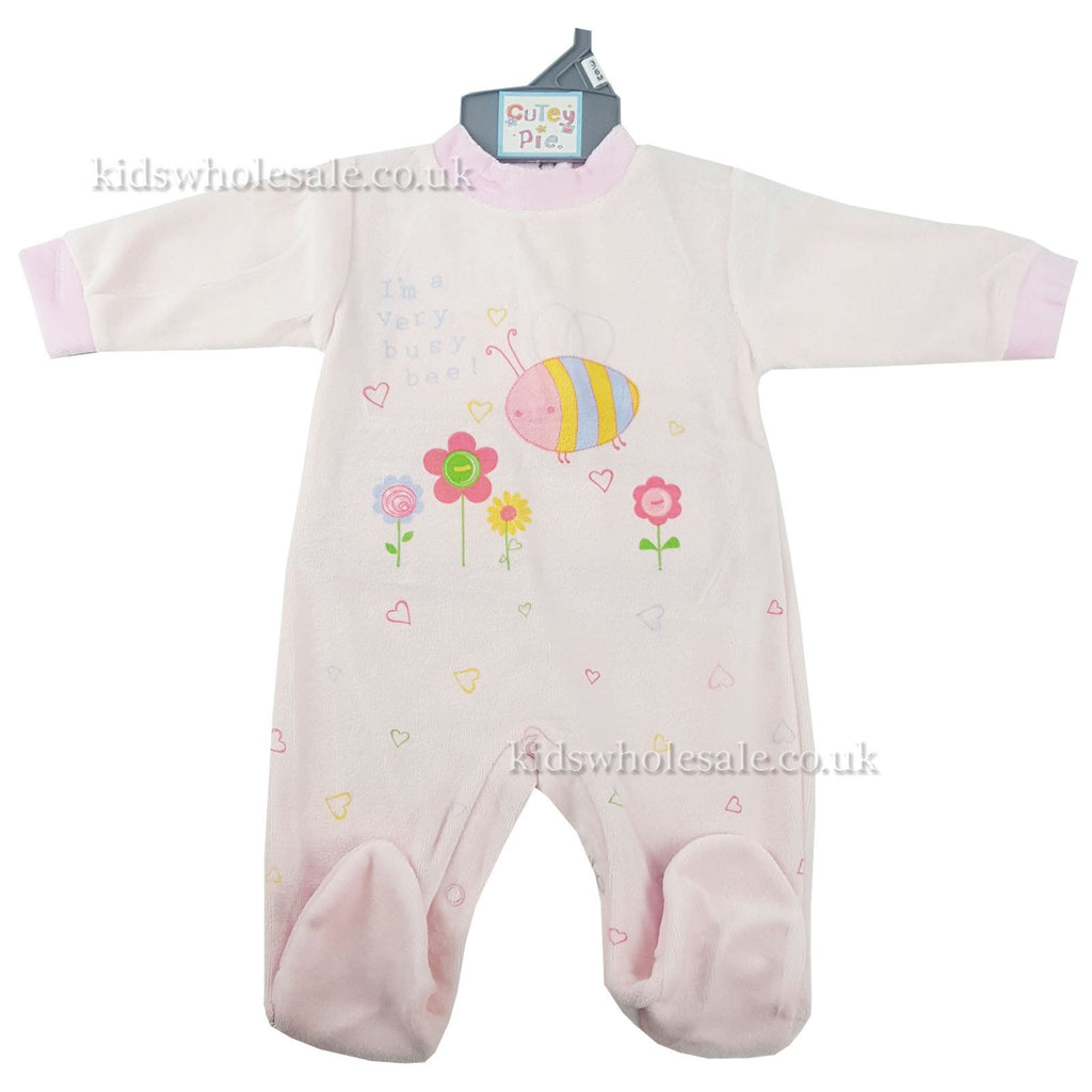 Baby Girls Printed Sleepsuit 'I'm A Very Busy Bee' (40JTC873)