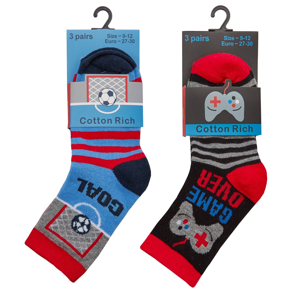 Boys 3 Pack Cotton Rich Football / Game Design Ankle Socks (Block Sizes) 42B603