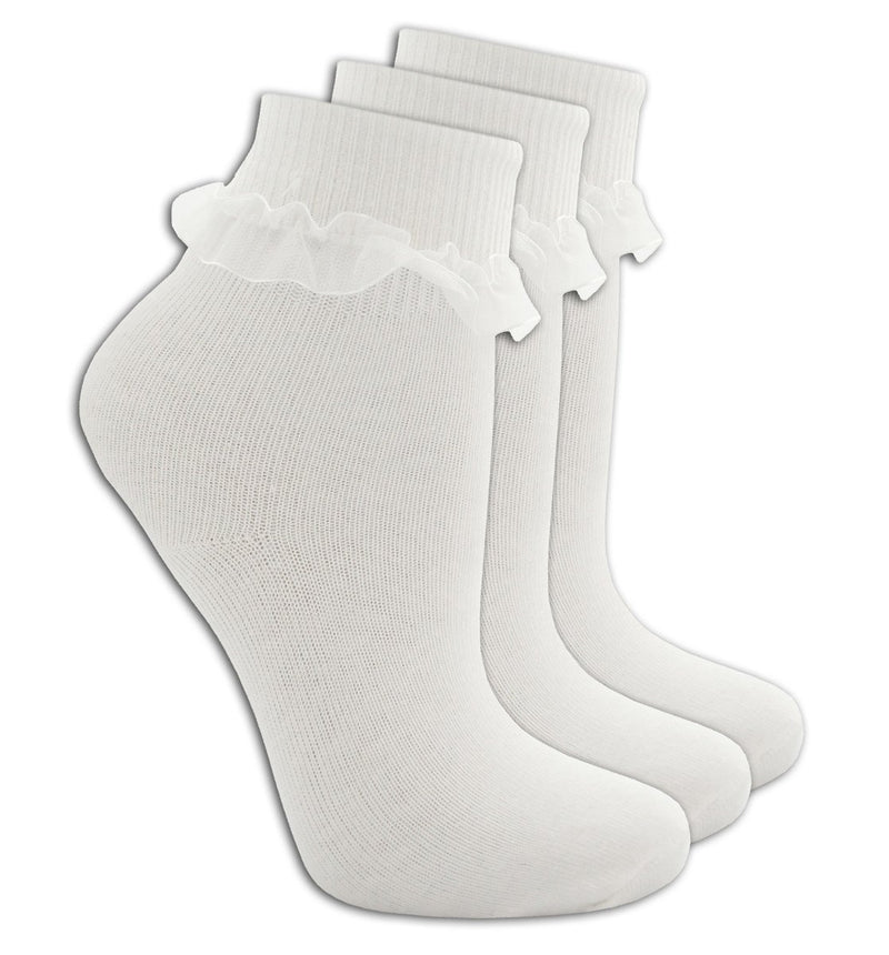 Girls 3PK Lace Tot Socks - White (43B187) - Kidswholesale.co.uk