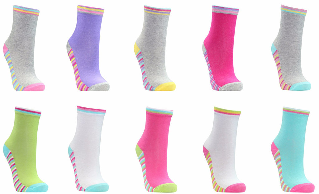 Girls 5PK Heel and Toe Socks (43B305)