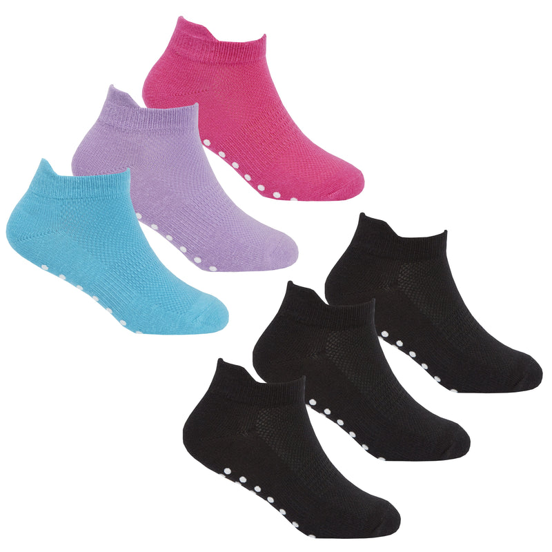 Girls 3 Pack Gym Socks With Grippers - (43B570) - Kidswholesale.co.uk