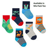 Baby Boys 3 Pack Cotton Rich Dinosaur Design Ankle Socks (SHOE SIZE 3-5.5) 44B787