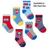 Baby Boys 3 Pack Cotton Rich Vehicles Design Ankle Socks (Assorted Sizes) 44B788