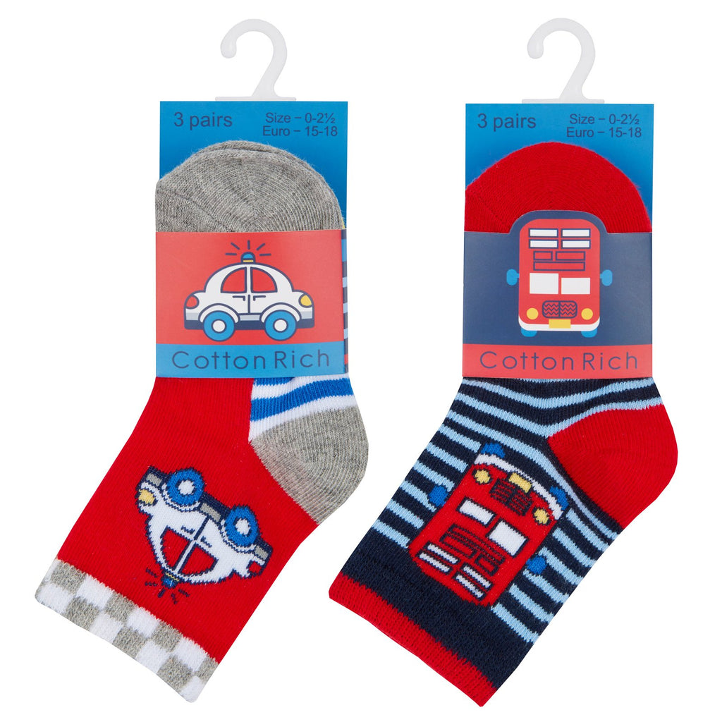 Baby Boys 3 Pack Cotton Rich Vehicles Design Ankle Socks (SHOE SIZE 3-5.5) 44B791