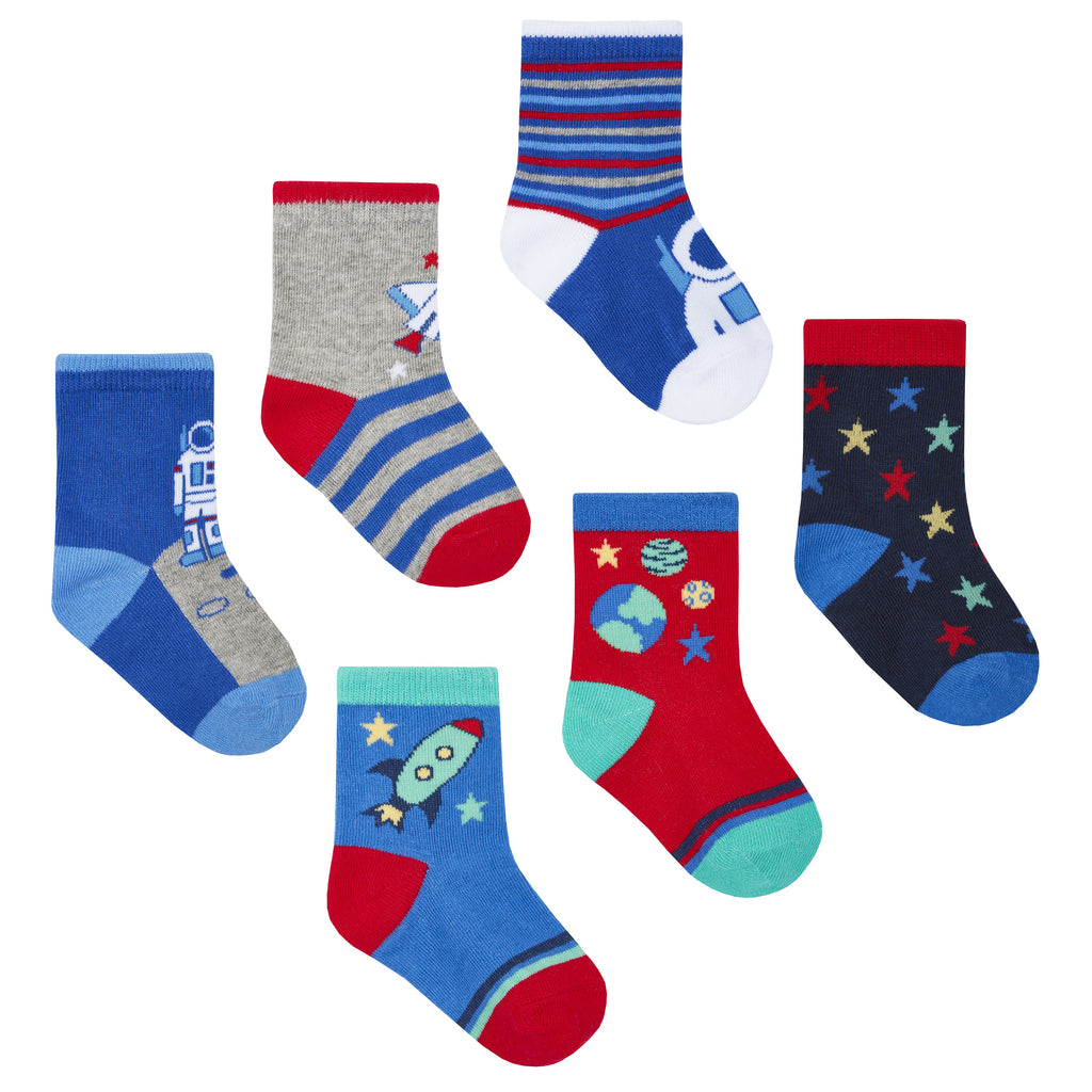Baby Boys 3 Pack Cotton Rich Space Design Ankle Socks (Assorted Sizes) 44B792
