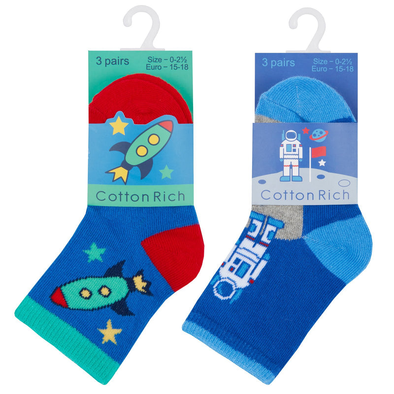 Baby Boys 3 Pack Cotton Rich Space Design Ankle Socks (SHOE SIZE 3-5.5) 44B795 - Kidswholesale.co.uk