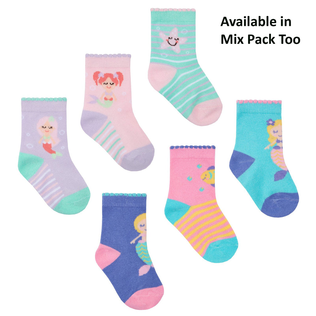 Baby Girls 3 Pack Cotton Rich Mermaid Design Ankle Socks (SHOE SIZE 0-2.5) 44B798