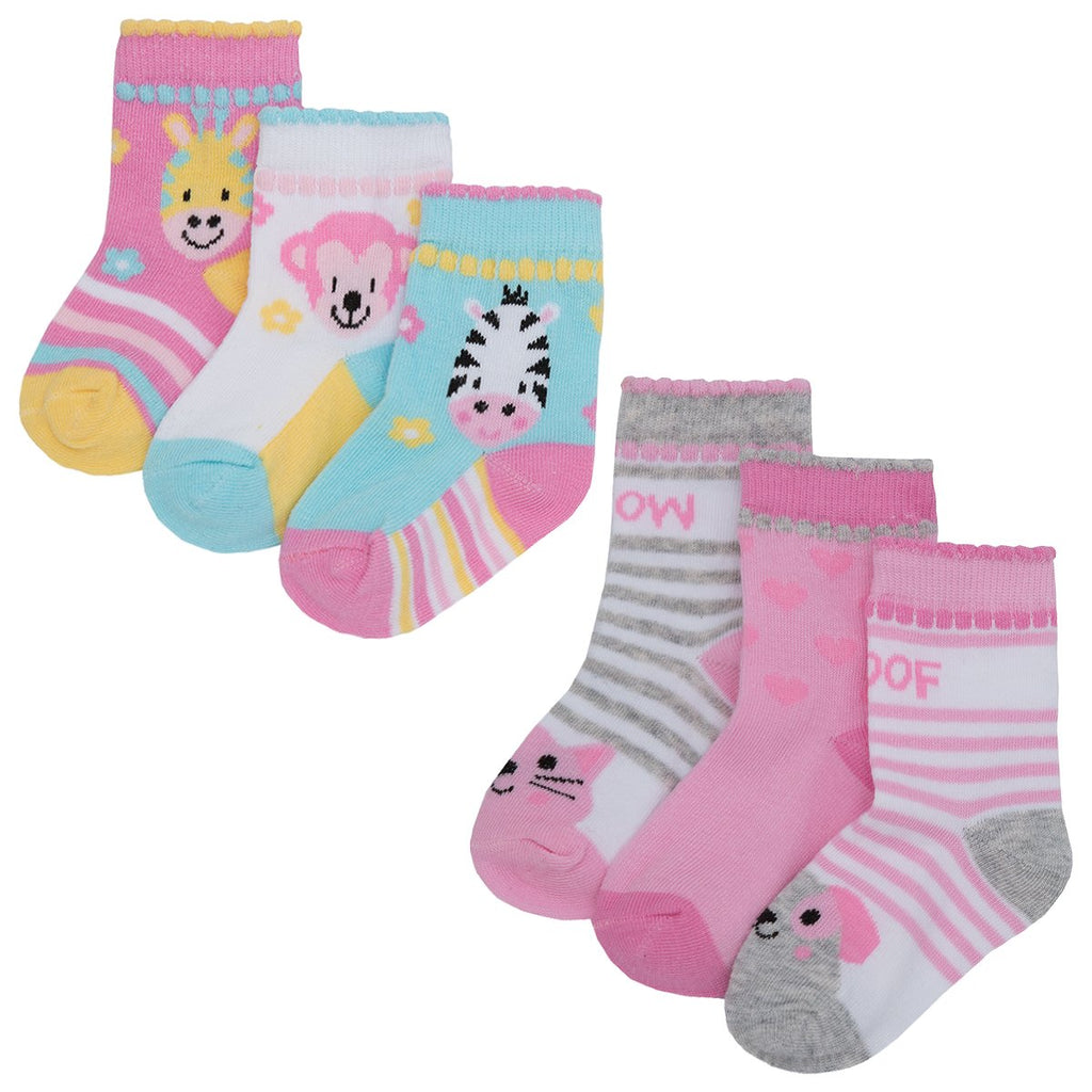 Baby 3pk Cotton Rich Design Socks - Cute Animals 44B692