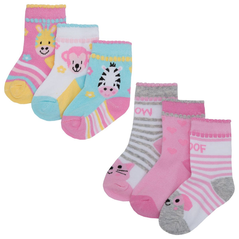 Baby 3pk Cotton Rich Design Socks - Cute Animals 44B692 - Kidswholesale.co.uk