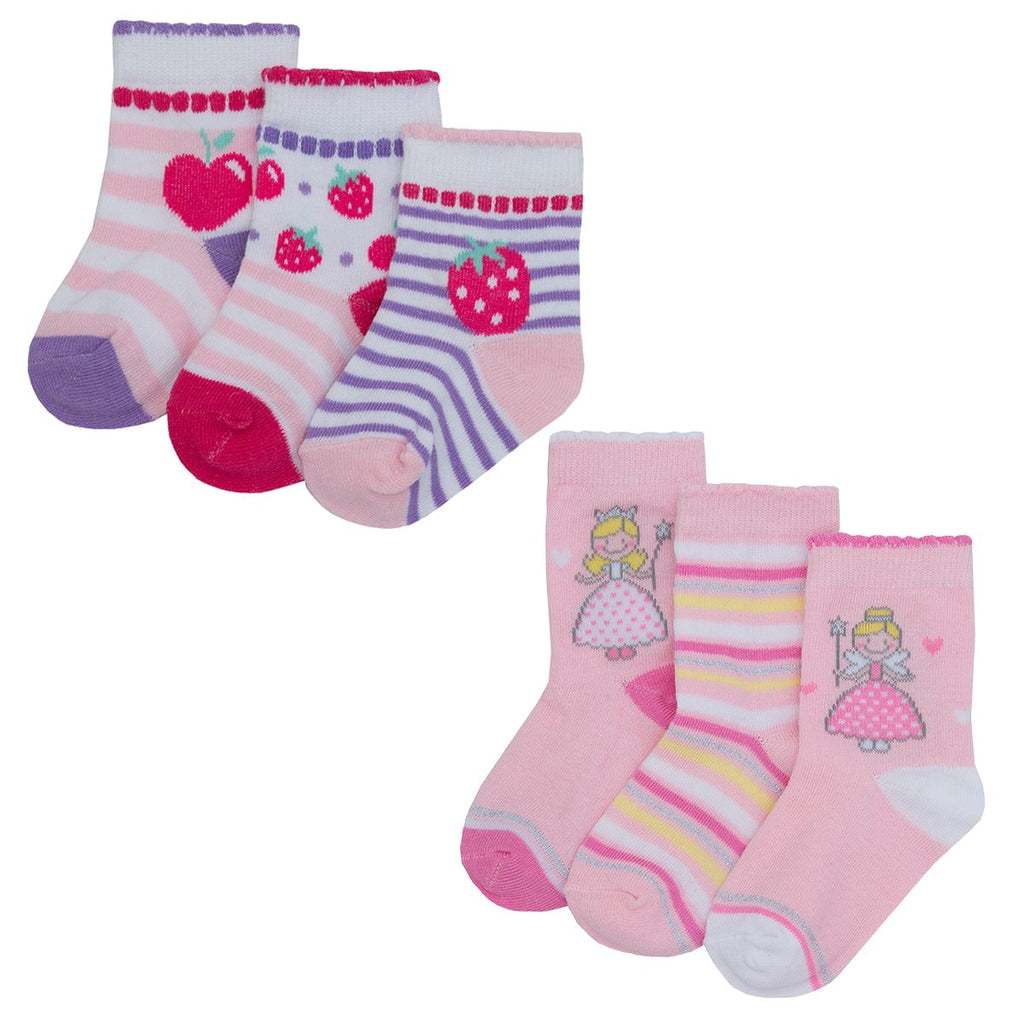 Baby Girls 3 pack Design Socks - Fairy & Cherry - 3-5.5 - (44B698)