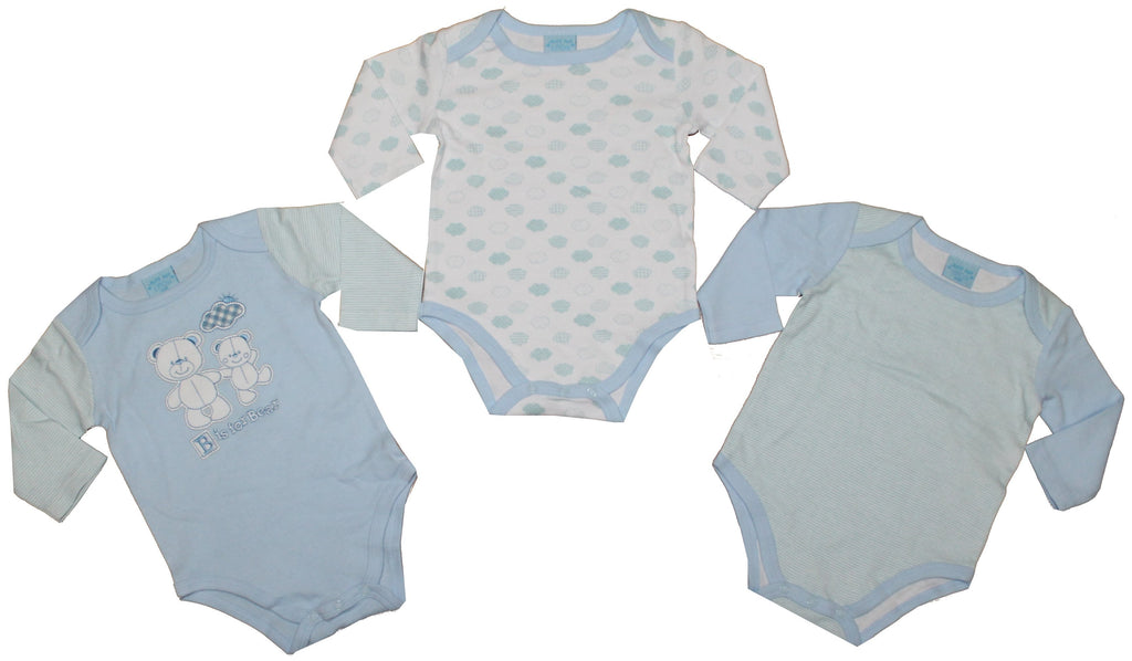 3 Pack L/S Boys Bodyvest -B is for Bear - NB-12 Months (45JTC1172LB)