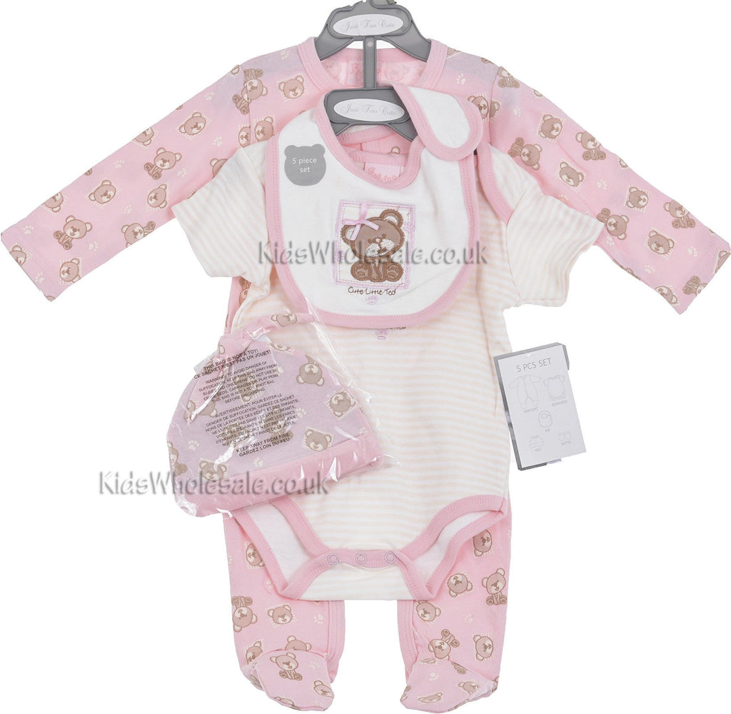 Baby Girls Teddy 5 Pce Net Bag Gift Set (NB-6 Months)(45JTC6246)Unit Price:£5.40