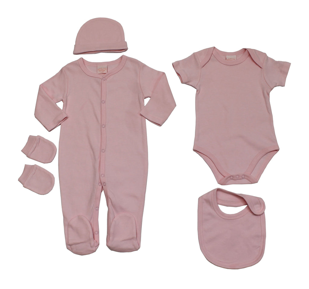 Baby Girls 5pc Gift Set - Plain Pink - 0-6M (45JTC8192)