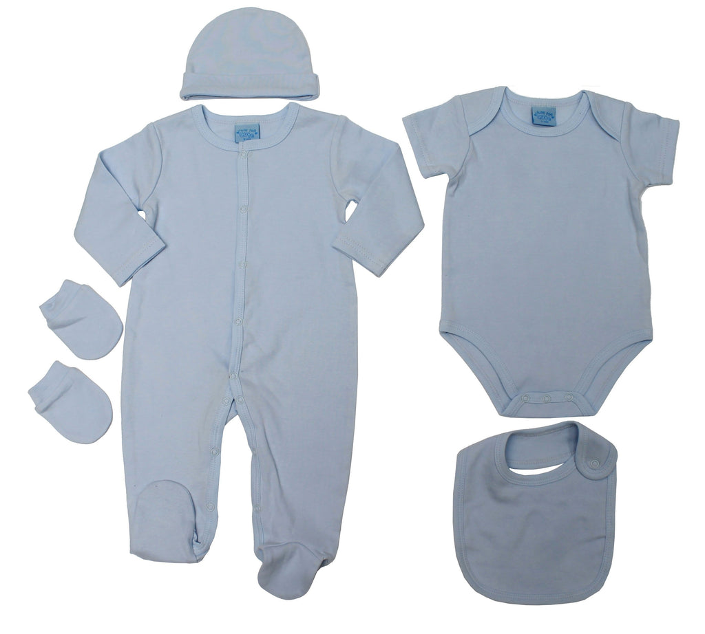 Baby Boys 5pc Gift Set - Plain Sky Blue - 0-6M (45JTC8200)