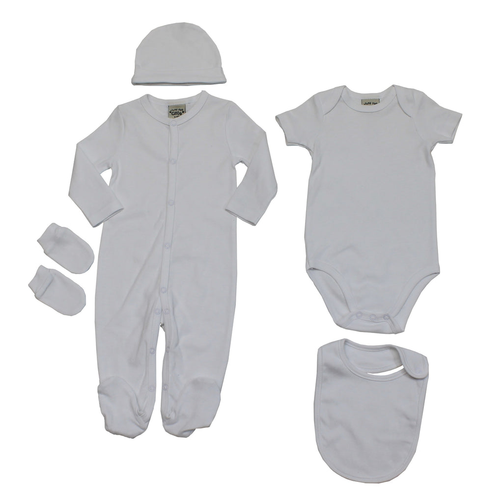 Babies 5pc Gift Set - Plain White - N/B  0/3 mths 45JTC8228)