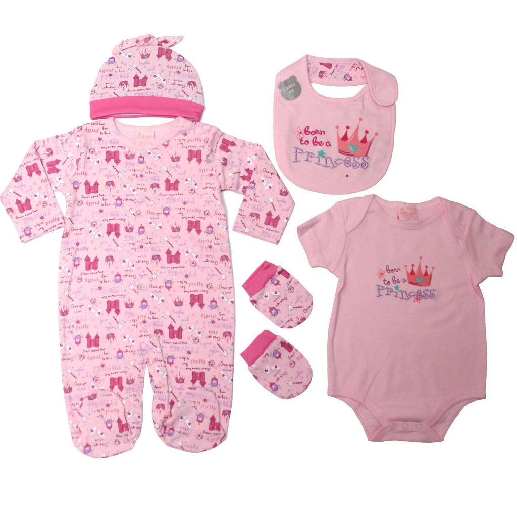 Baby Girls 5pc Layette Gift Set - Princess - NB-6 M (45JTC271)