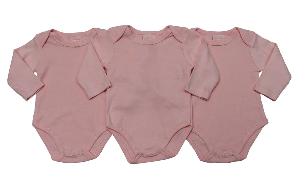 3 Pack Girls L/S Bodyvest - Plain Pink - NB-12 Months (46JTC8214LG)