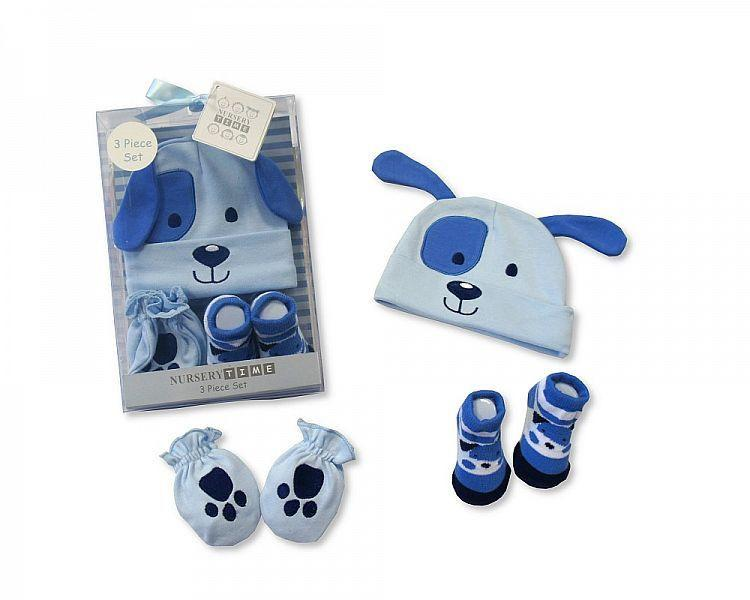 Baby Hat, Socks and Mitten Set - Dog