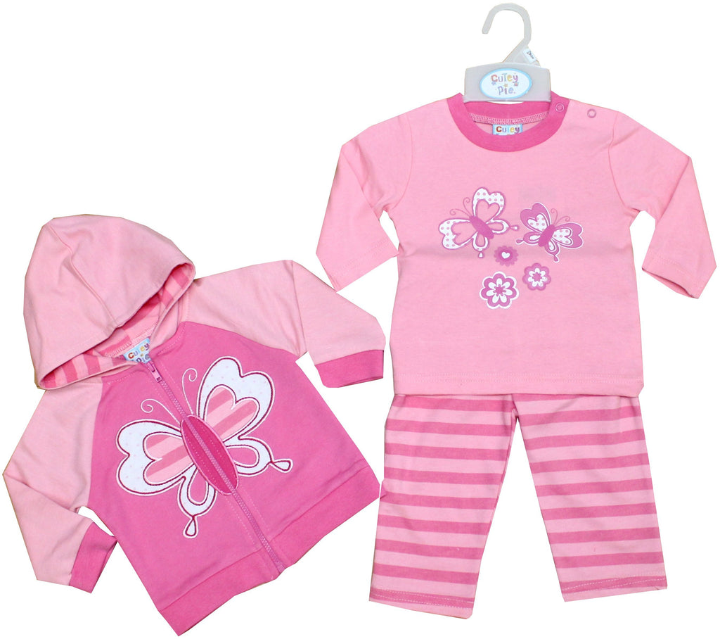 Baby Girls Jogging Suit - Butterfly - 6-24M (50JTC163)