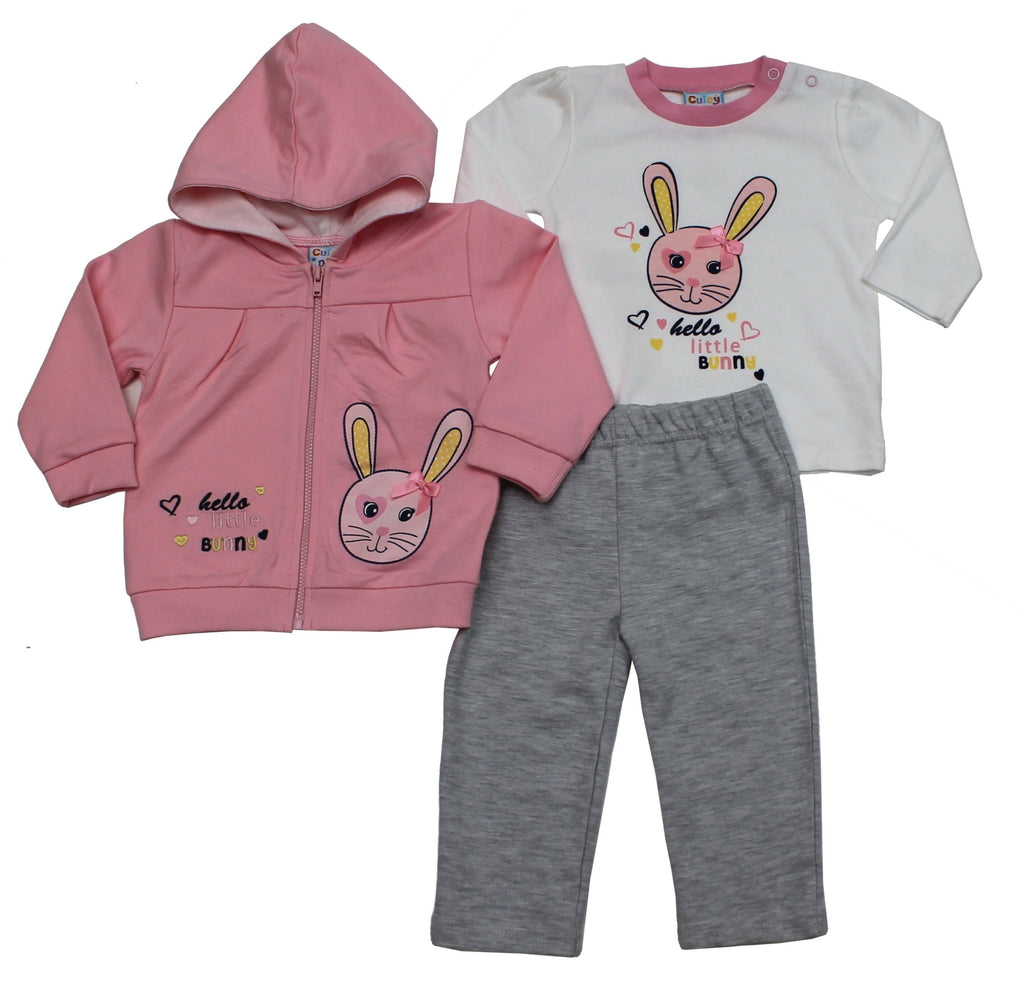 Baby Girls 3pc Hooded Track Set - Bunny - 6-24M - (50JTC8022)