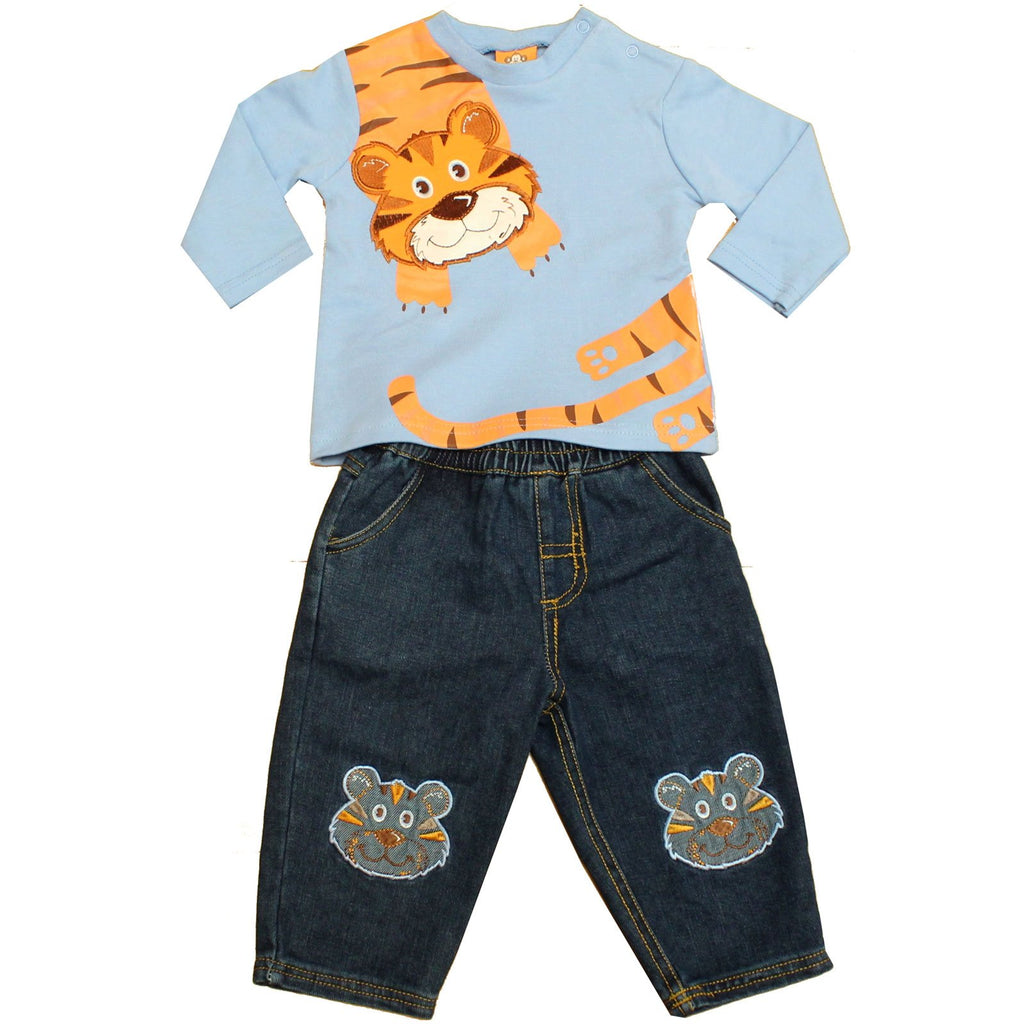 Baby Boys 2Pcs Denim Trouser Set - Tiger - 6/24 Months (50JTC567)