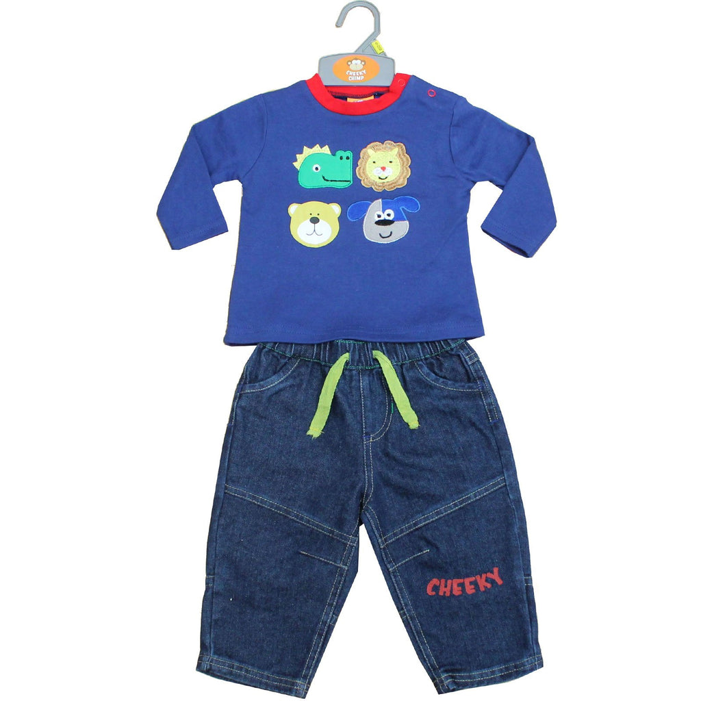 Baby Boys 2Pcs Denim Trouser Set - Animals - 6-24 Months (50JTC572)