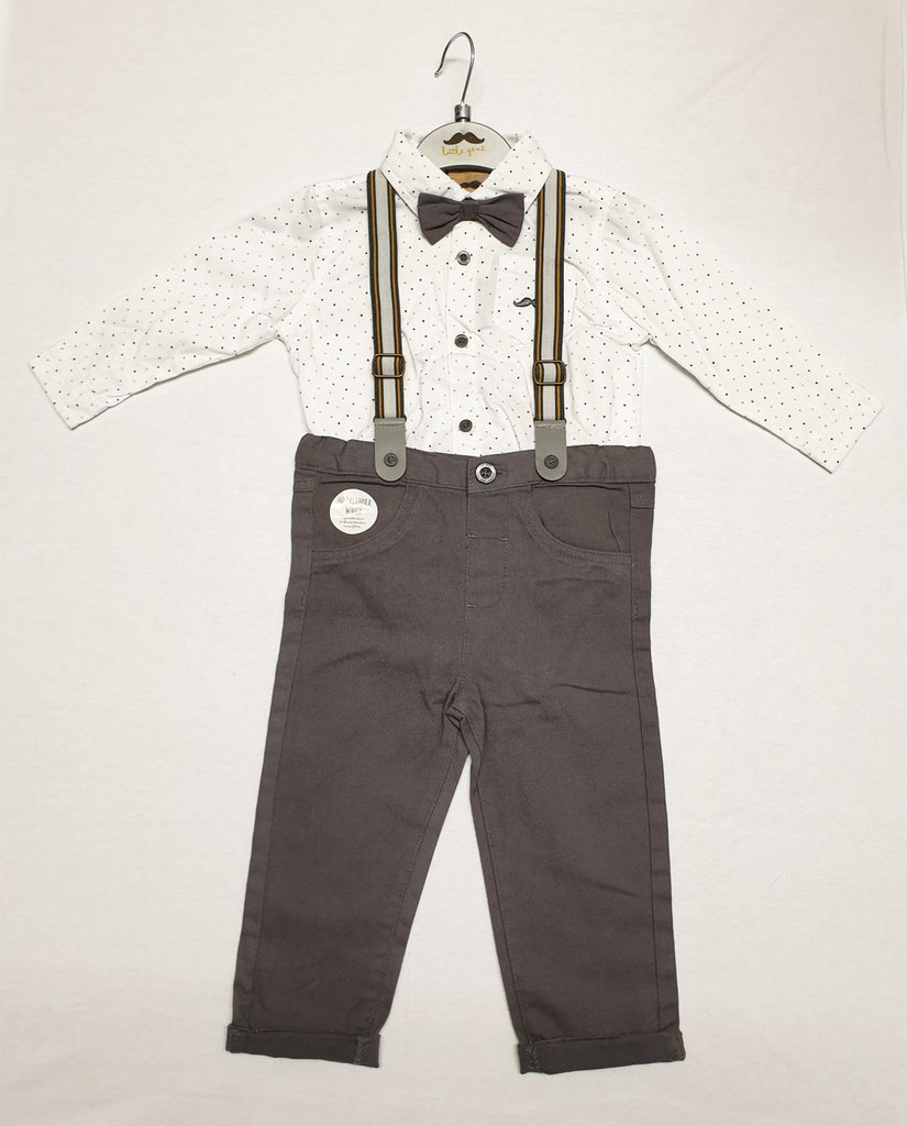 BABY BOYS 4PC BODYSUIT SHIRT WITH BOW TIE & CHINO PANT WITH BRACES OUTFIT (0-18 MONTHS) S18907