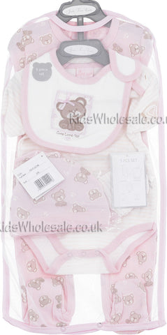 5462290e7edf Just Too Cute. Baby Girls Teddy 5 Pce Net Bag Gift Set ...