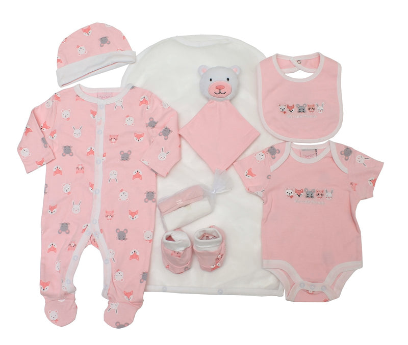 Girls 8pc Mesh Bag Gift Set -  Bears/Friends  (NB-6m) 65JTC8727 - Kidswholesale.co.uk