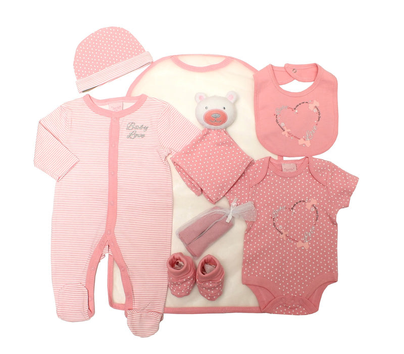 Girls 8pc Mesh Bag Gift Set -  Baby Love  (NB-6m) 65JTC8729 - Kidswholesale.co.uk