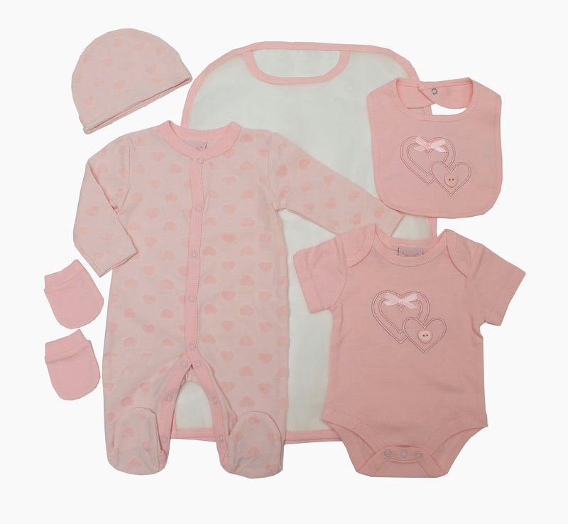Girls 5pc Mesh Bag Gift Set -  BOW&HEARTS (0-6m) 65JTC8769 - Kidswholesale.co.uk