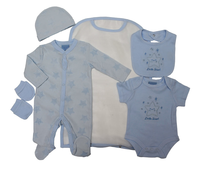 Boys 5pc Mesh Bag Gift Set -  LITTLE STAR (0-6m) 65JTC8774 - Kidswholesale.co.uk