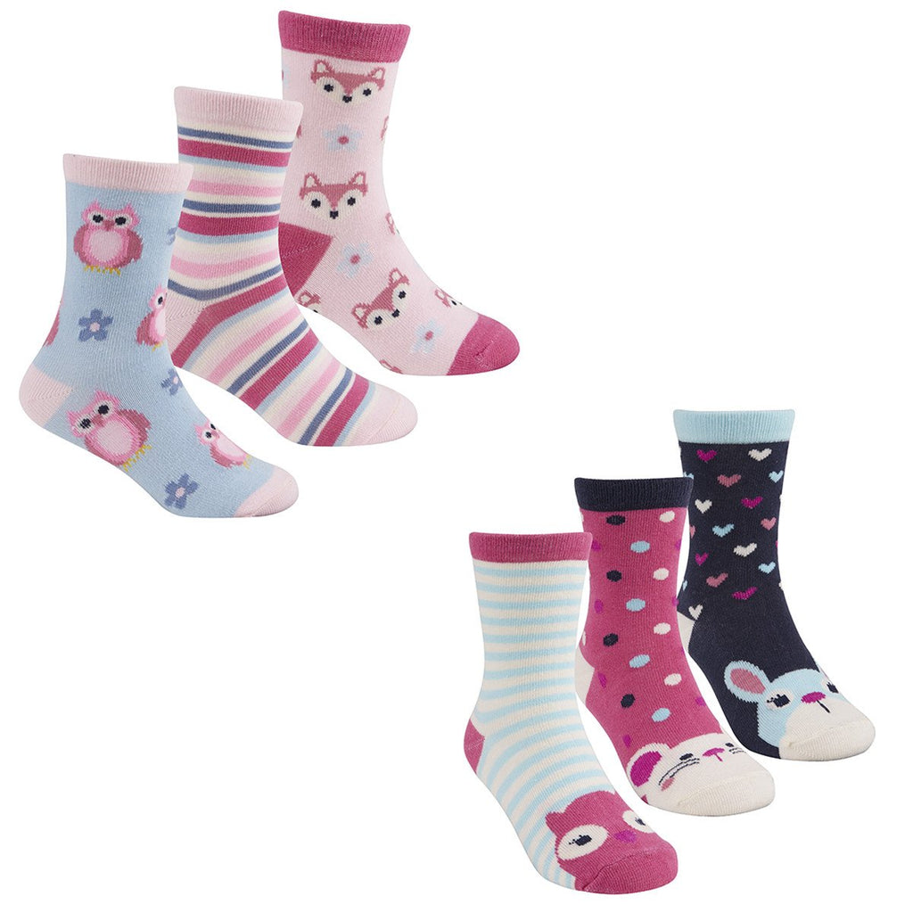 Girls 3 Pack Design Socks 43B477