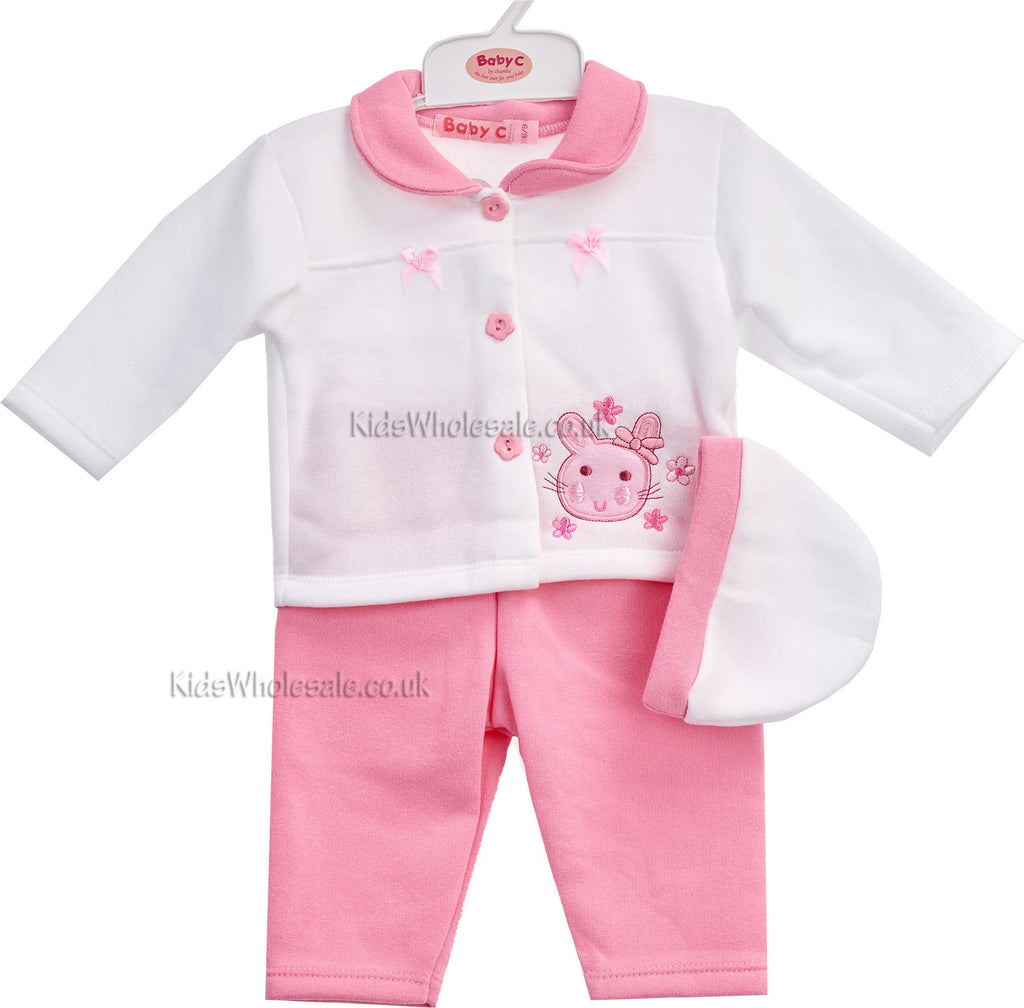 Baby Girls Fleece 3pcs Set - Bunny - 0-9 Months (7277)