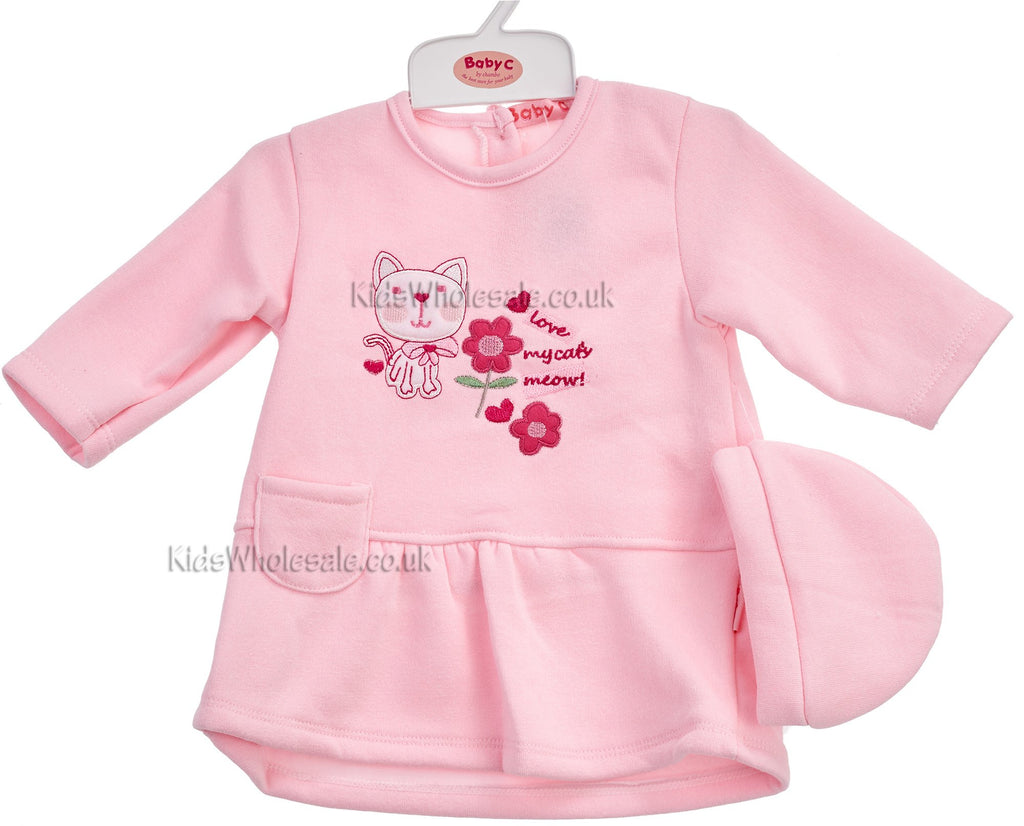 Baby Girls 2pc Fleece Dress W/Hat- Kitty - 0-9 Months (7278)