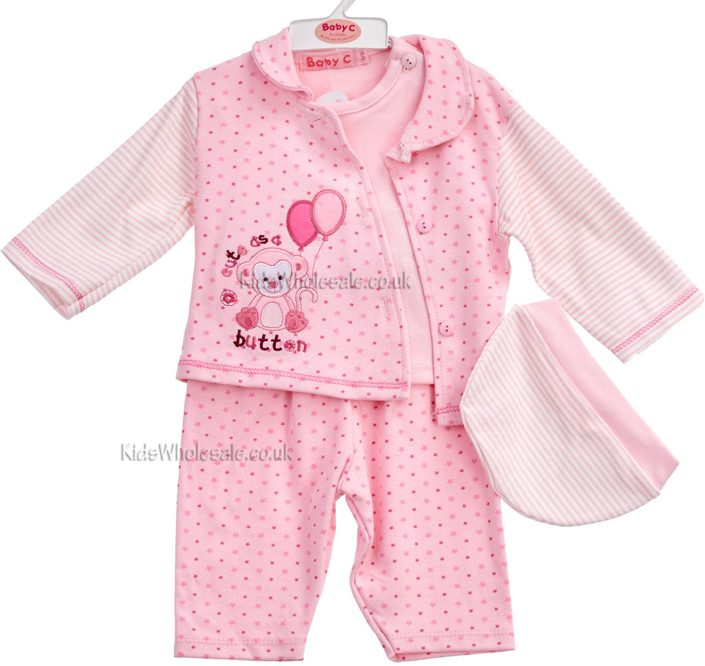 Baby Boys and Girls 4pc Cotton set - Cute as a Button - 0-6 Months (7284)