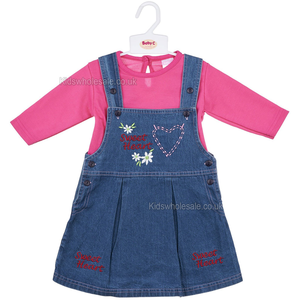 Baby Girls L/S 2Pc Denim Pinafore - Sweetheart - 0-9M (7298)