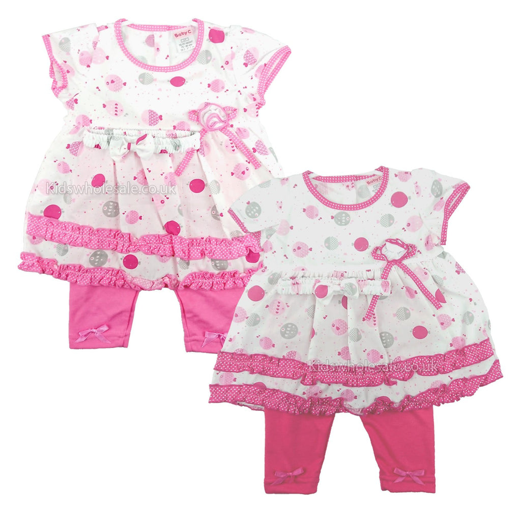 Baby Girls Legging Set W/Headband - Fishes - 0-9M (7367)