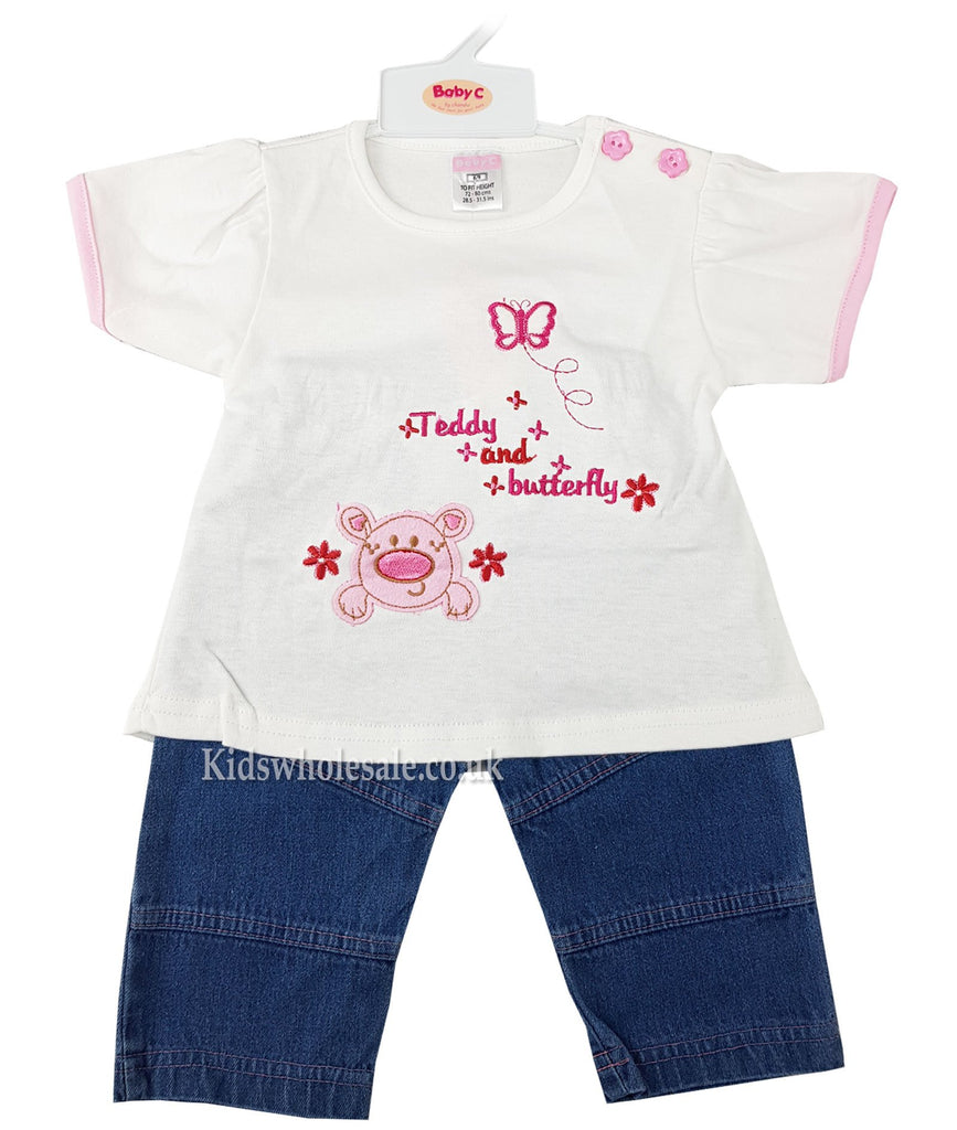 Baby Girl 2 pcs Denim Set - Teddy & Butterfly - 0-9 Months (7405)