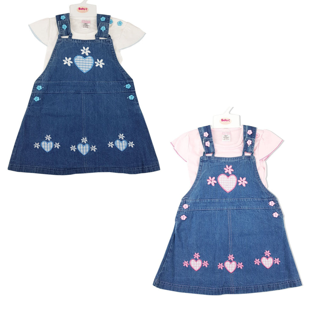 Baby Girl 2 pcs Denim Set - Hearts & Flowers 0-9 Months (7407)