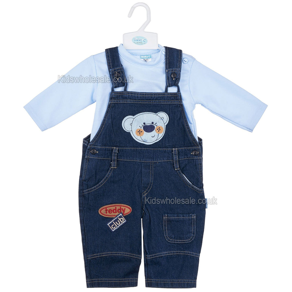 Baby Boys L/S 2Pc Denim Dungaree - Teddy Club - 0-9M (7408)