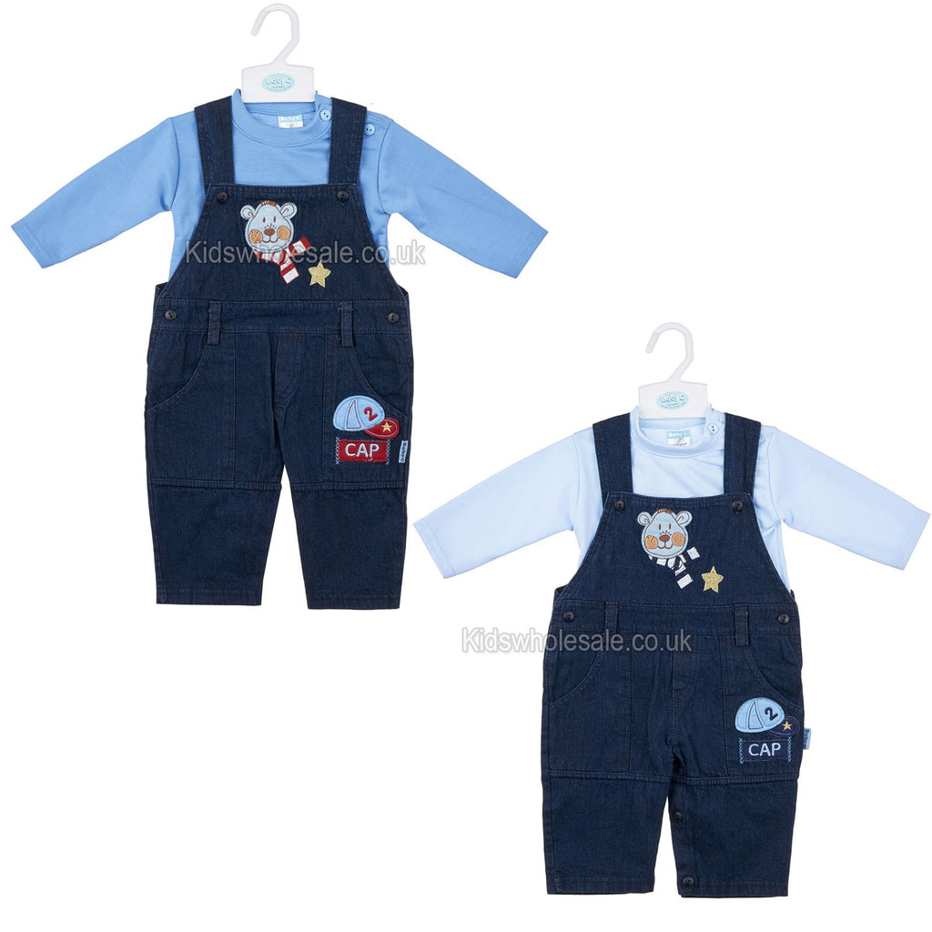 Baby Boys L/S 2Pc Denim Dungaree - Cold Bear- 0-9M (7409)