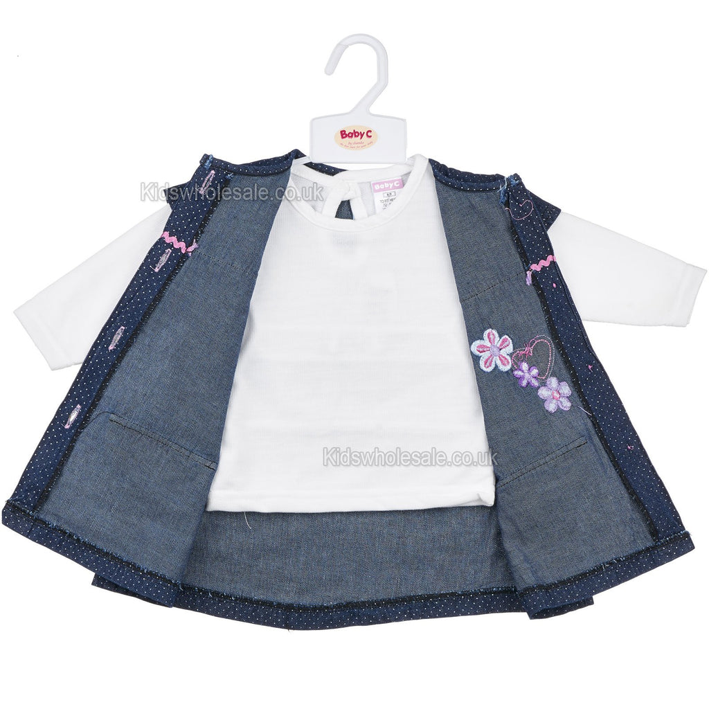 Baby Girls L/S 2Pc Denim Dress - Flowers/Hearts - 0-9M (7413)
